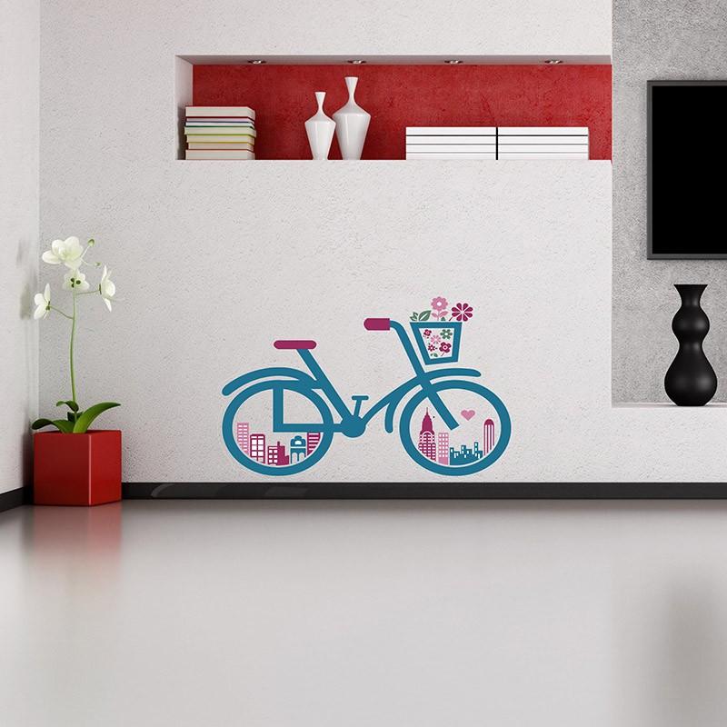 Adesivo de Parede Bicicleta Colorida
