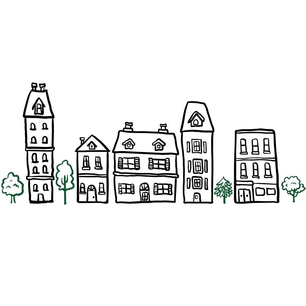 Adesivo de Parede Black Green City
