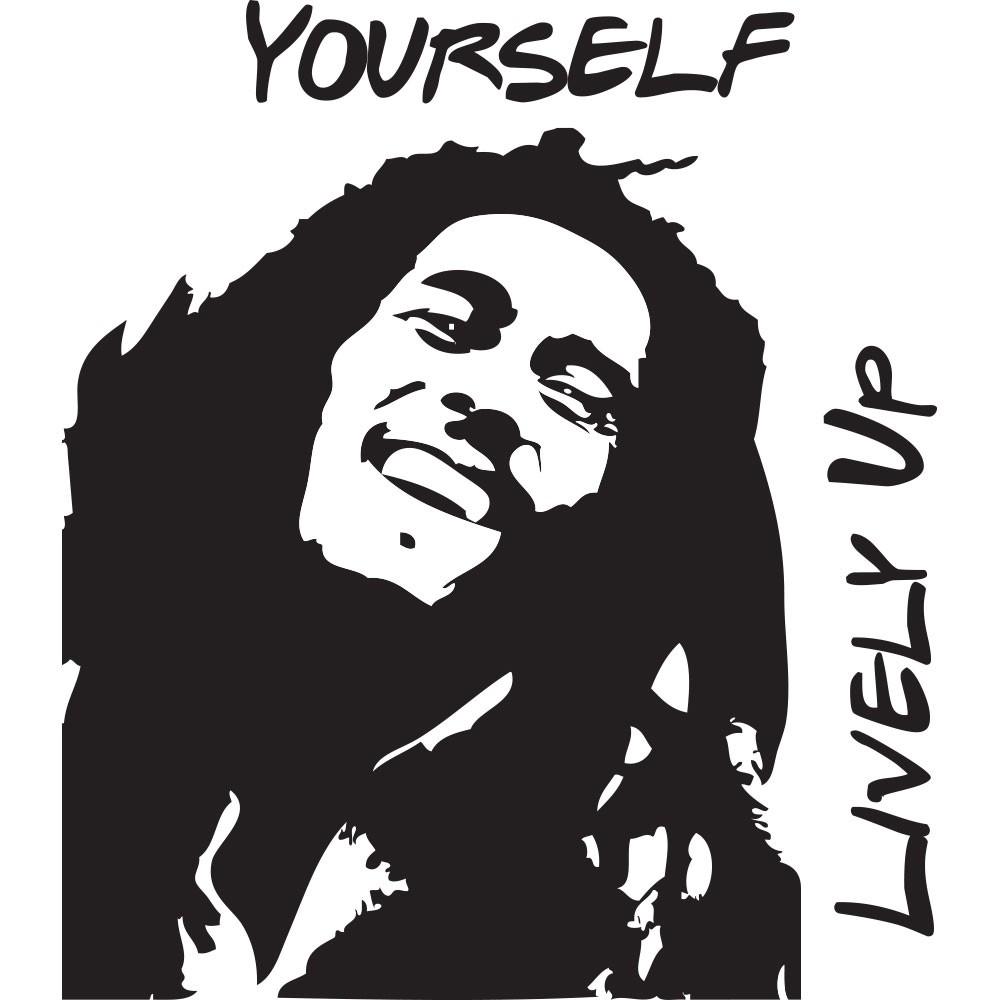 Adesivo de Parede Bob Marley Level Up Yourself