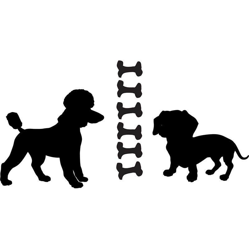 Adesivo de Parede Cachorros Poodle e Salsisha