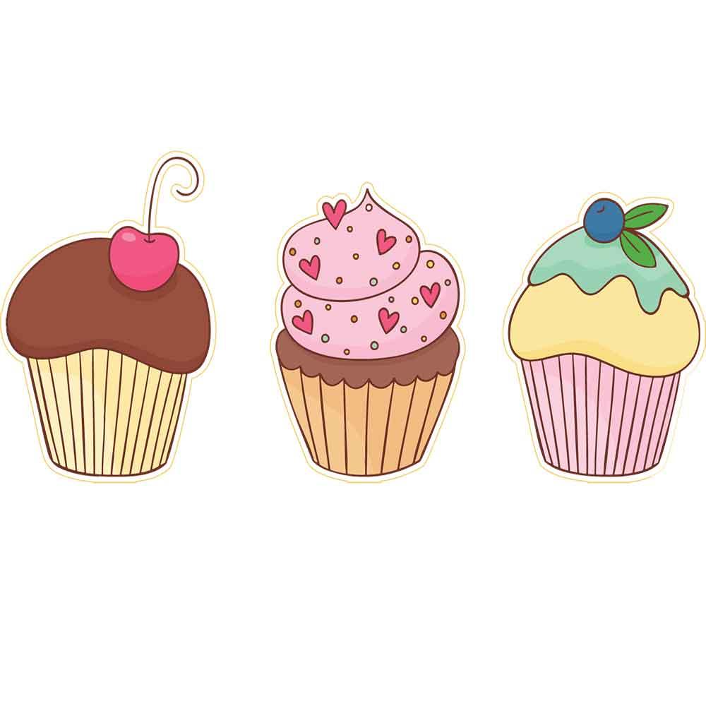 Adesivo de Parede Colorido Cupcakes