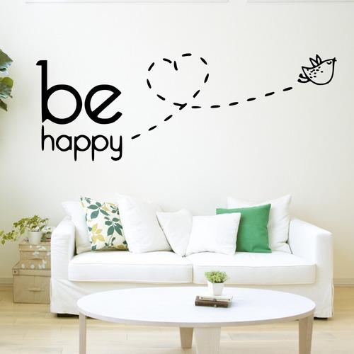Adesivo De Parede Decorativo Be happy aviãozinho