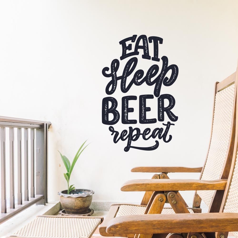 Adesivo de Parede Eat beer Sleep Repeat