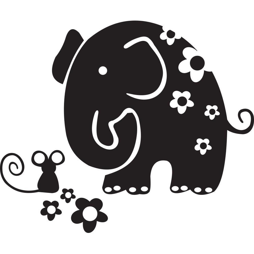 Adesivo de Parede Elefante e Ratinho