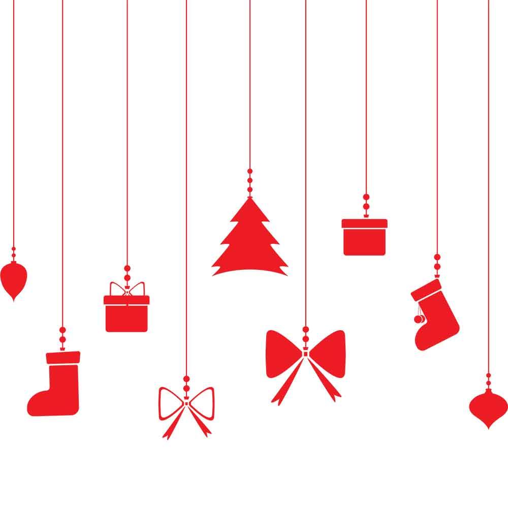 Adesivo de Parede Elementos Natal Pendurados