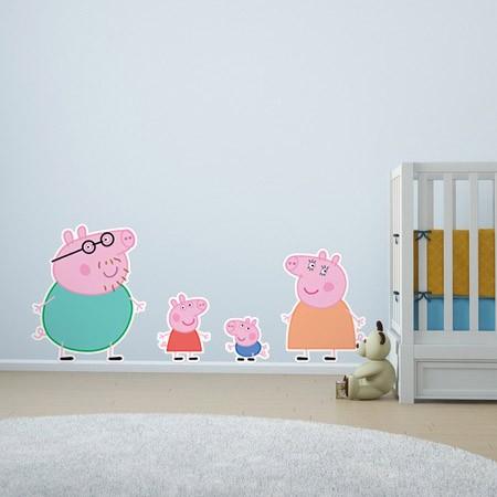 Adesivo de Parede Família Peppa Pig