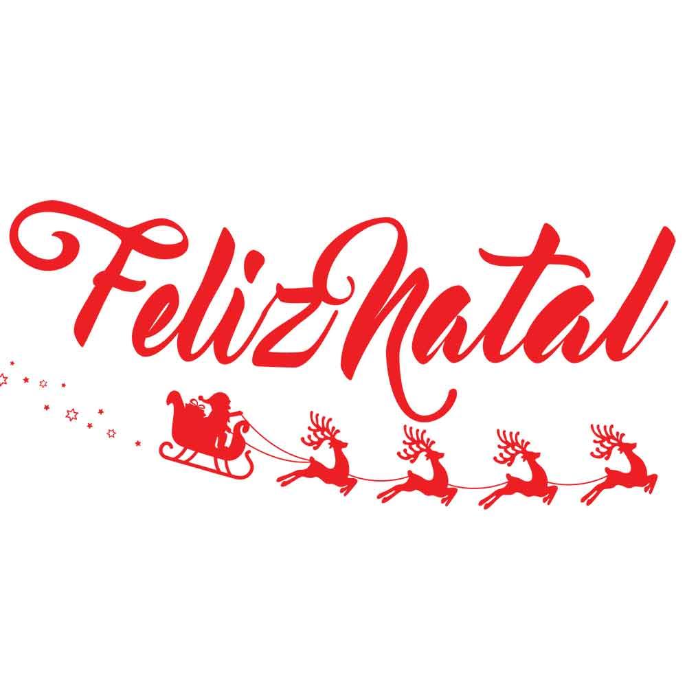 Adesivo de Parede Feliz Natal Trenó Papai Noel