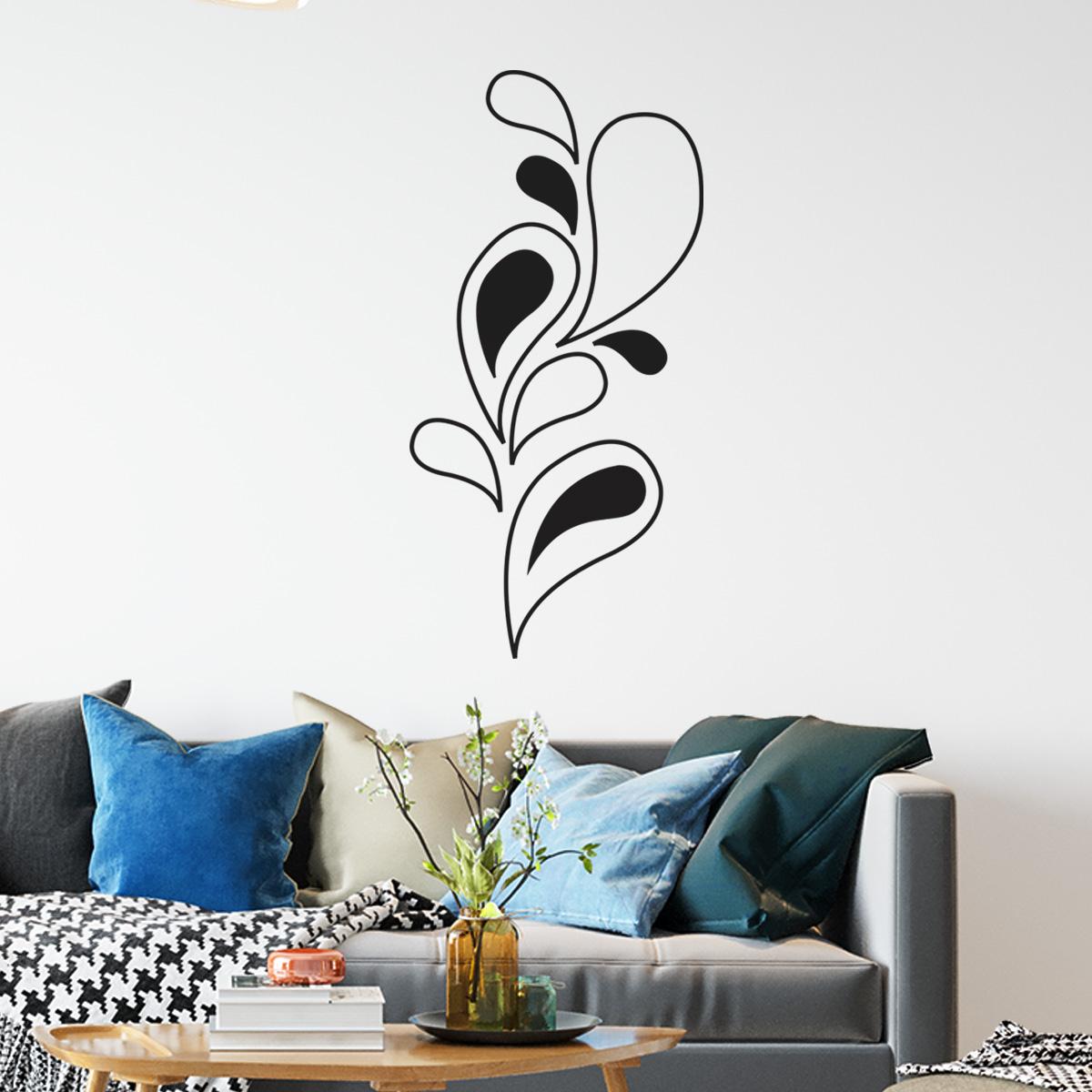 Adesivo de Parede Floral Folhas e Gotas