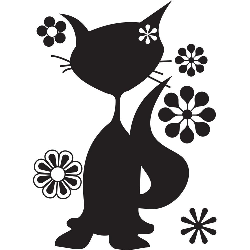 Adesivo de Parede Gatinha + Flores