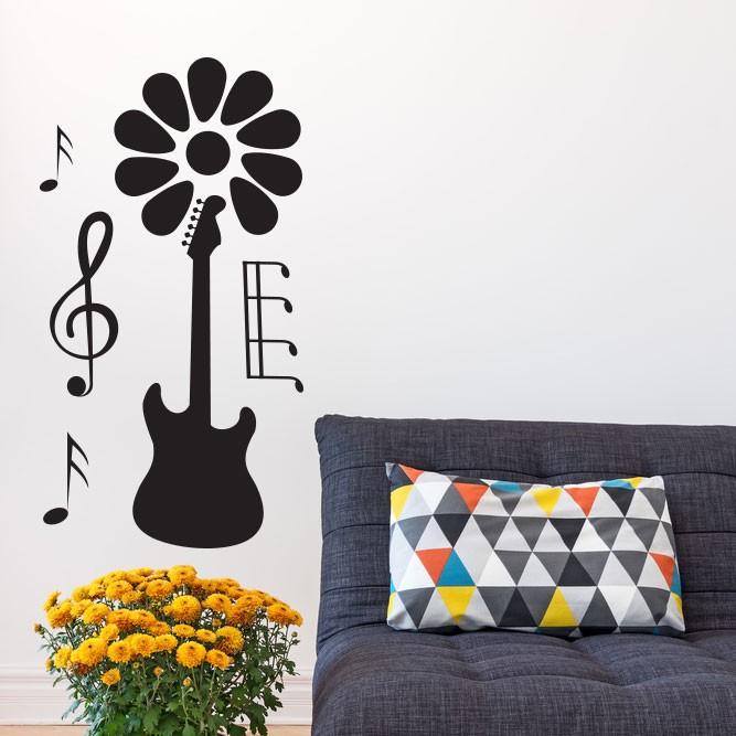 Adesivo de Parede Guitarra Floral