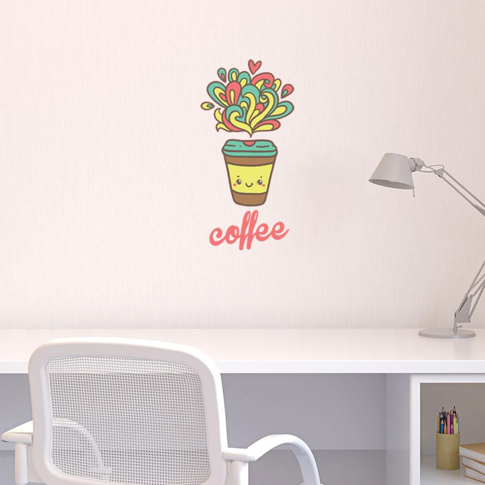 Adesivo de Parede Happy Coffee Cup