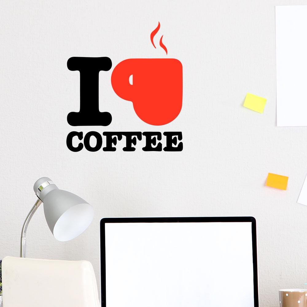 Adesivo de Parede I Love Coffee Cup