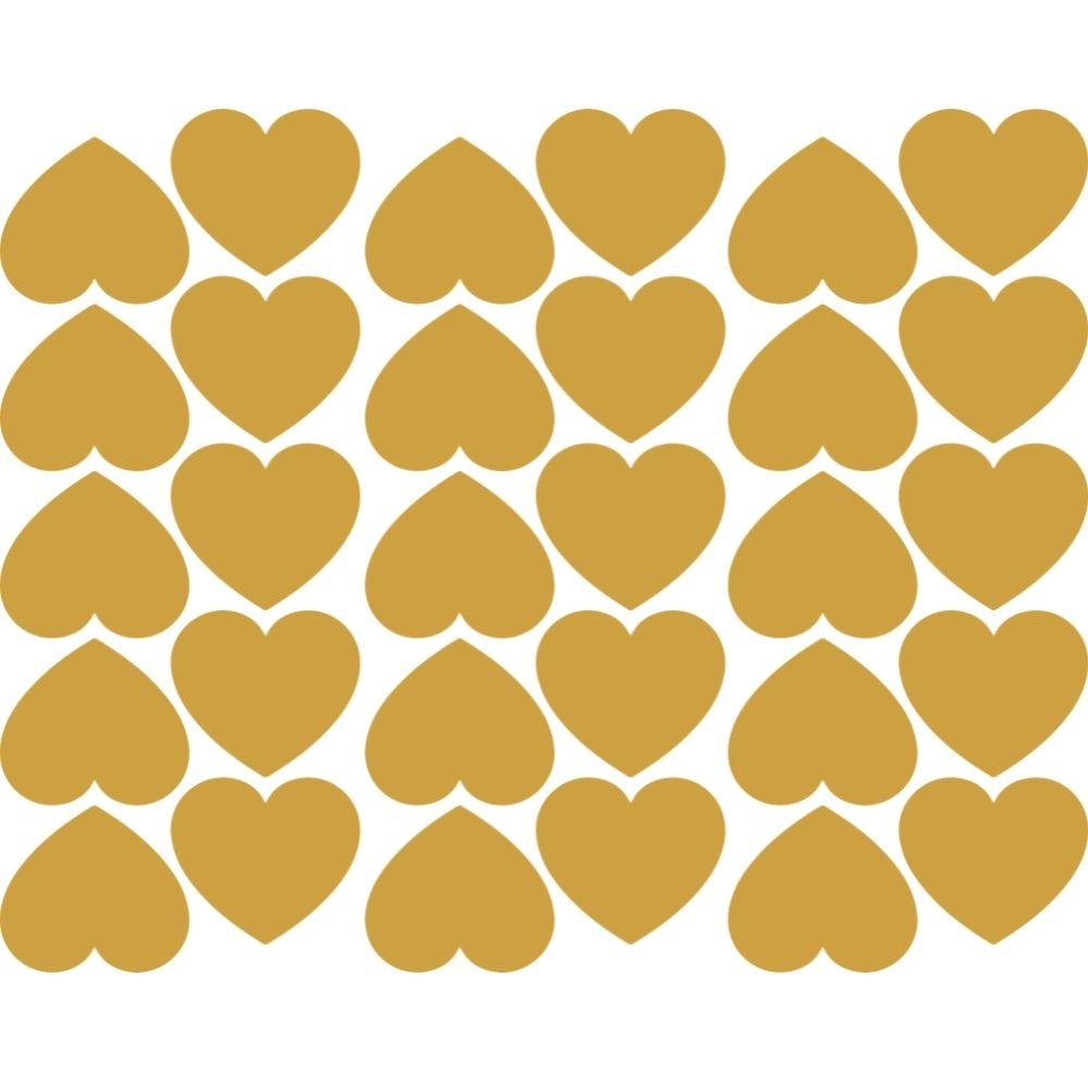 Adesivo de Parede Infantil Corações Gold Dreams - Branco e Dourado