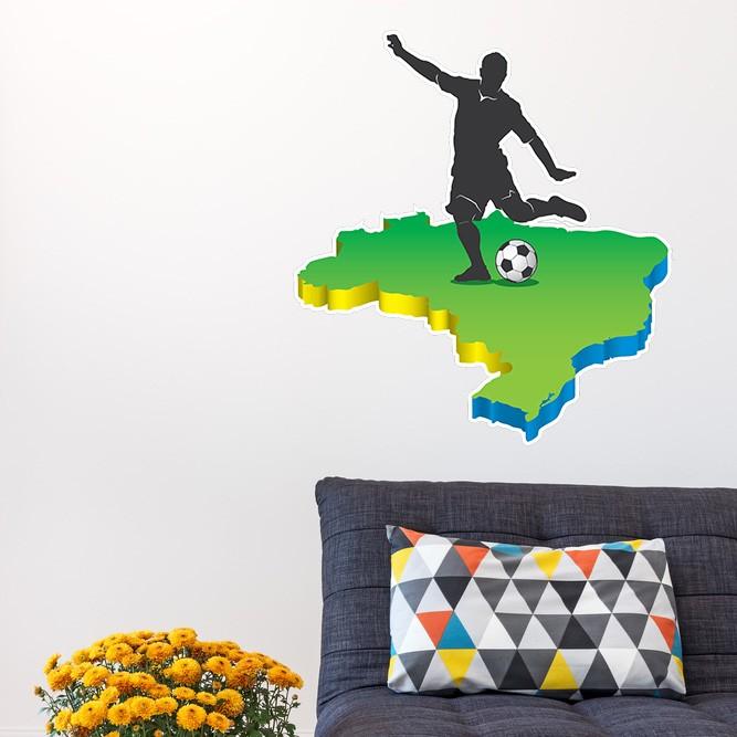 Adesivo de Parede Jogador Futebol e Mapa do Brasil