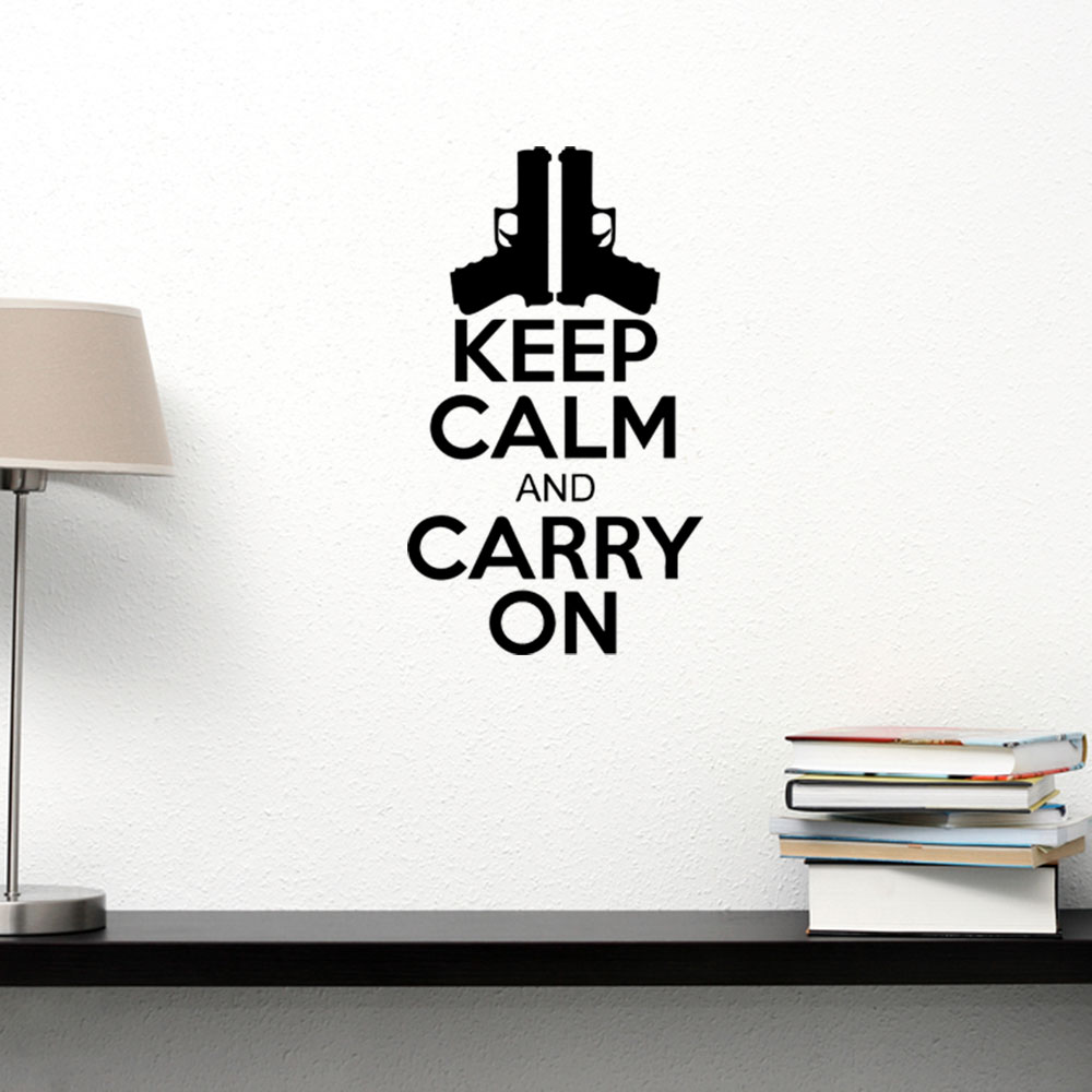 Adesivo de Parede Keep Calm And Carry On Gun