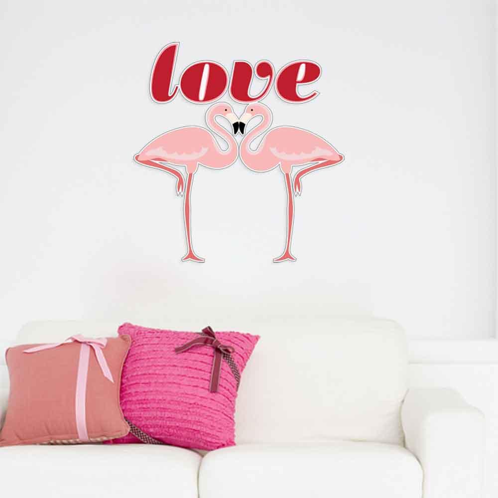 Adesivo de Parede Love Flamingo