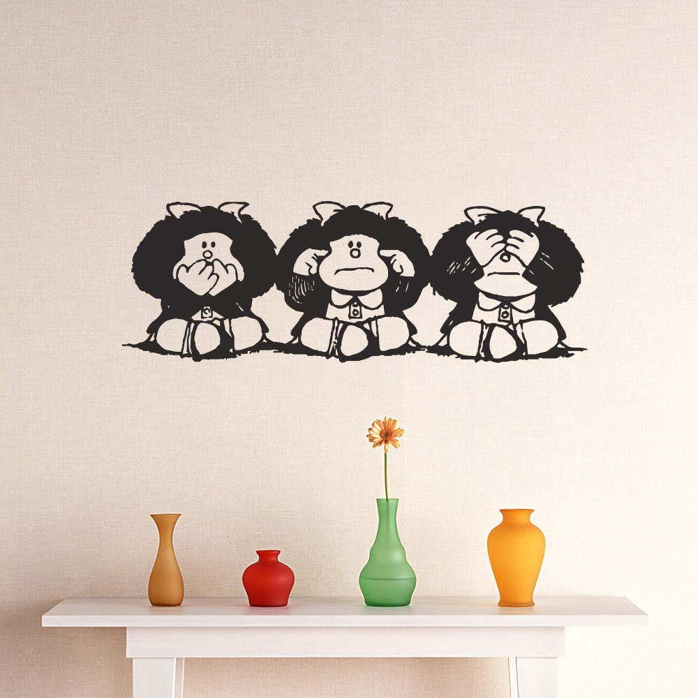 Adesivo de Parede Mafalda Muda Surda e Cega
