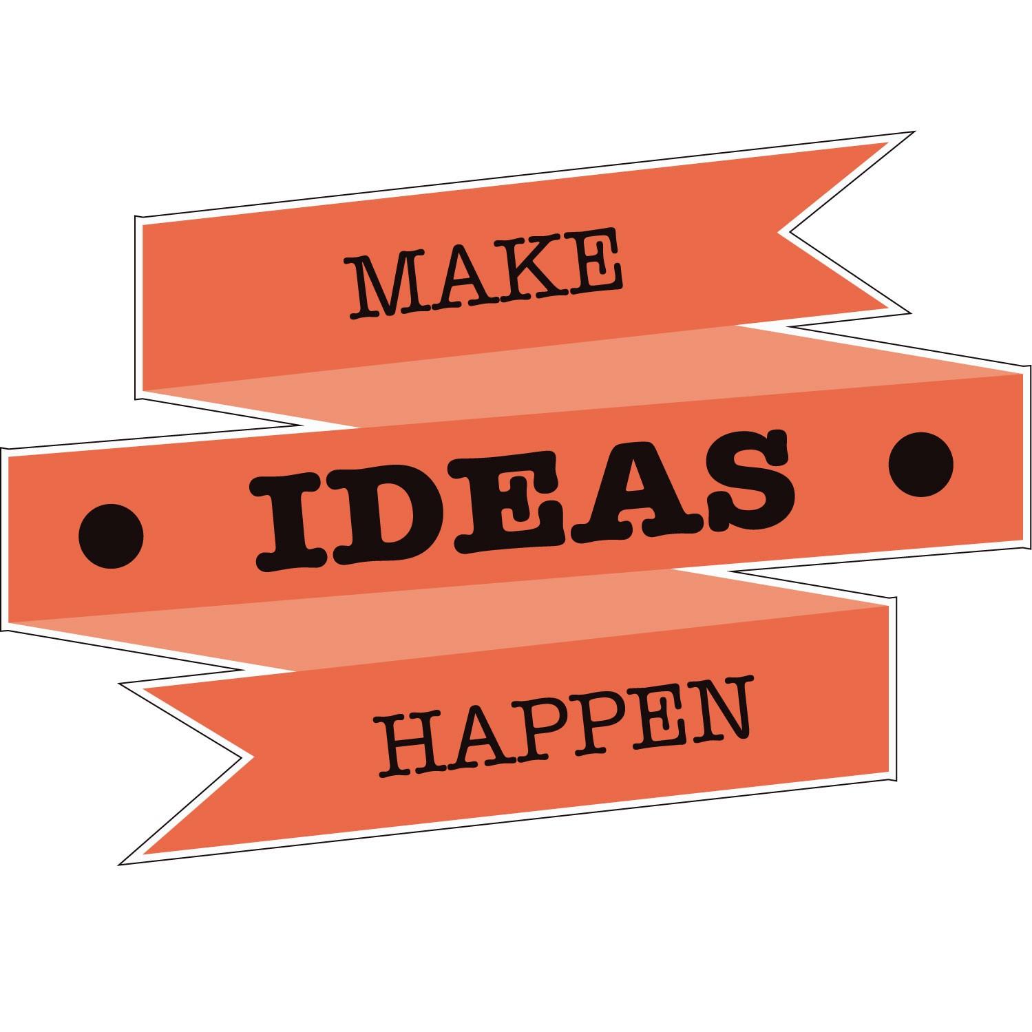 Adesivo de Parede Make Ideas Happen Laranja