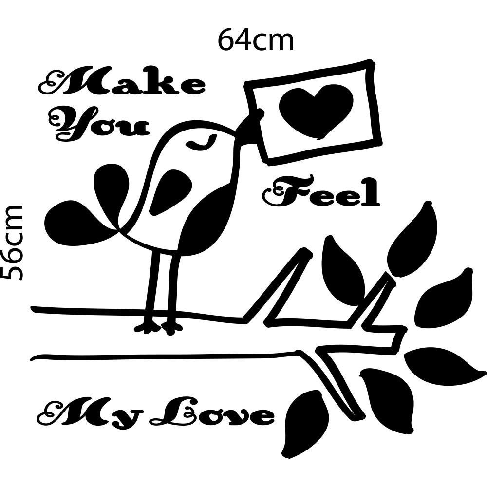 Adesivo de Parede Frase Make You Feel my Love