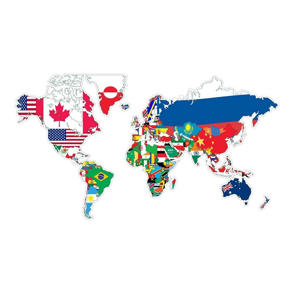 Adesivo de Parede Mapa do Mundo e Suas Bandeiras
