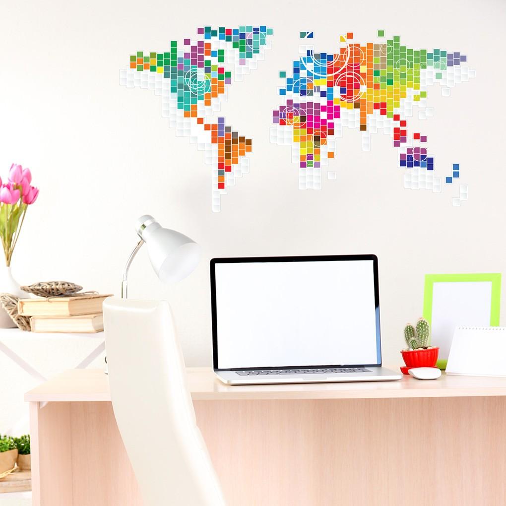 Adesivo de Parede Mapa do Mundo em Pixels