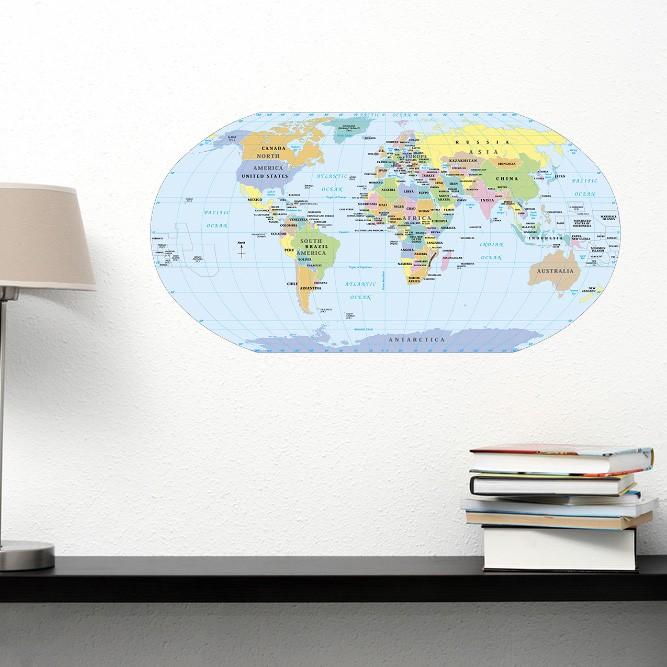 Adesivo de Parede Mapa do Mundo Político
