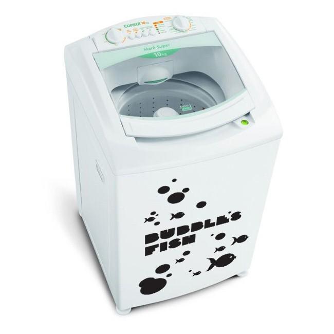 Adesivo Lavanderia Máquina de Lavar Bolhas e Peixes