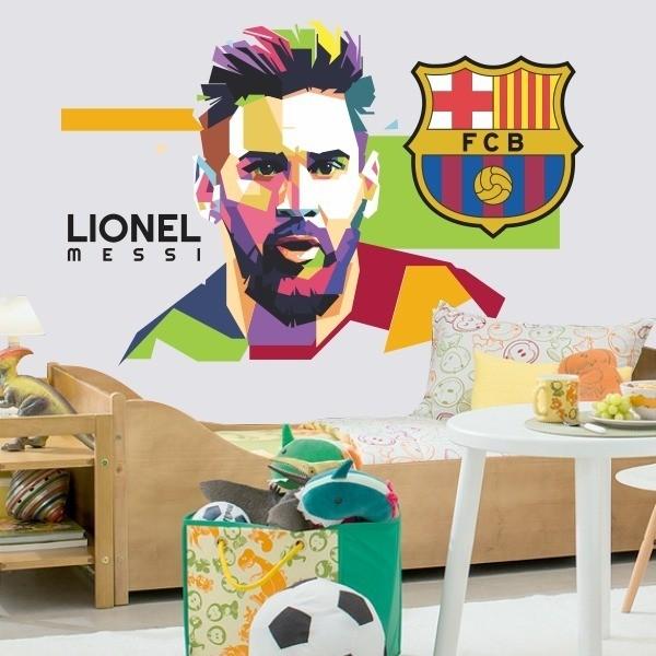 Adesivo de Parede Messi Colorido