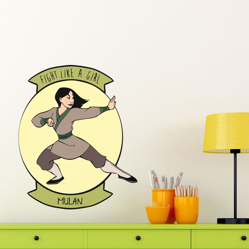 Adesivo de Parede Mulan Fight Like a Girl