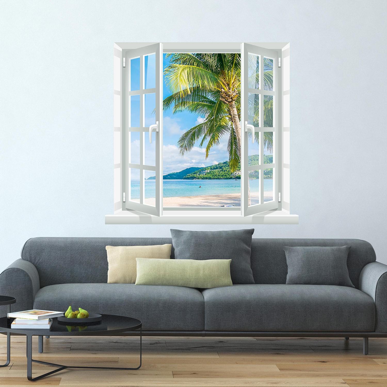 Adesivo de Parede paisagem praia na janela