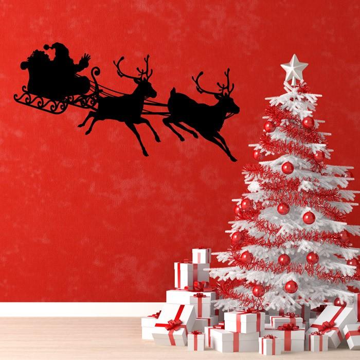 Adesivo de Parede Papai Noel e Renas