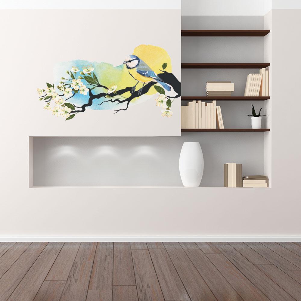 Adesivo de Parede Pássaro Azul Aquarela