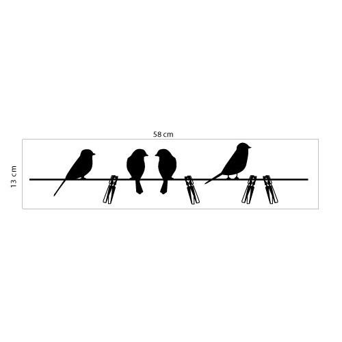 Adesivo de Parede Pássaro Varal