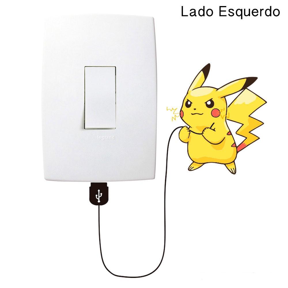 Adesivo de Parede Pikachu Eletricidade Interruptor