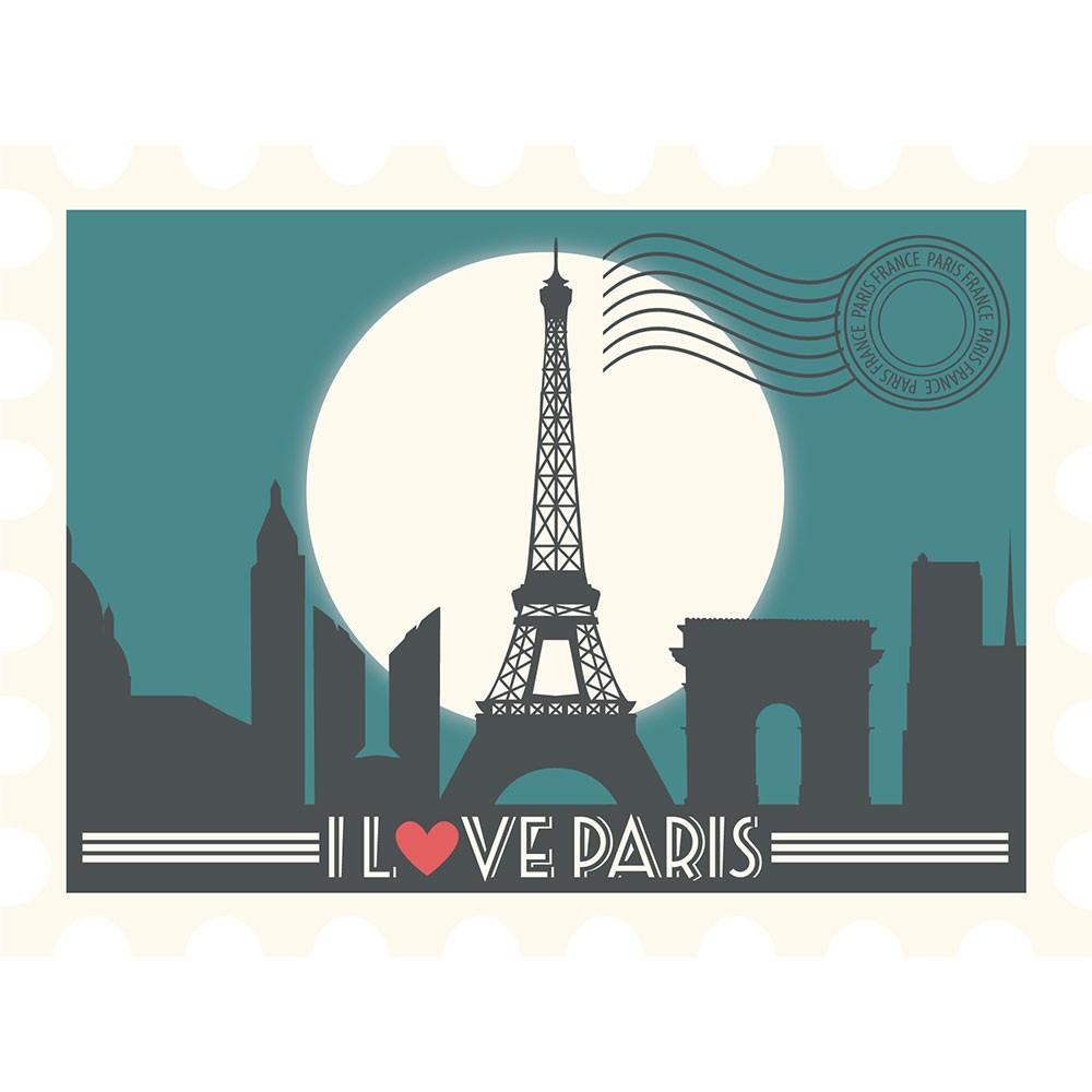 Adesivo de Parede Postal Paris Love