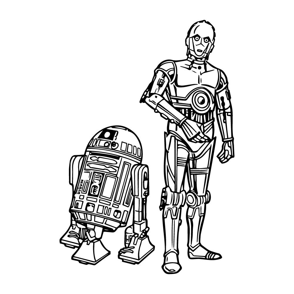 Adesivo de Parede R2-D2 e C-3PO