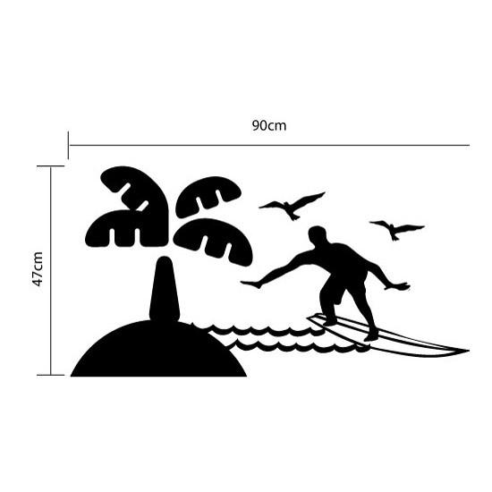 Adesivo de Parede Surfista Pegando Onda