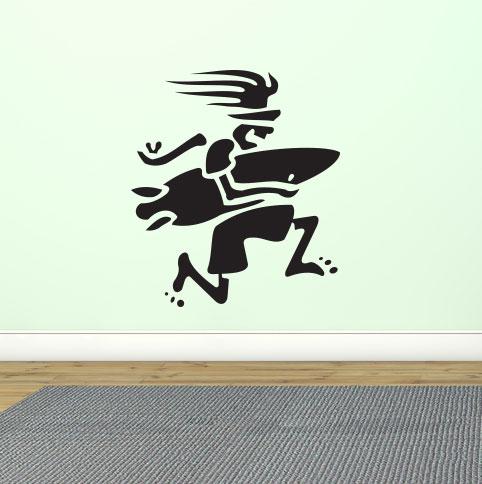 Adesivo de Parede Surfista Correndo