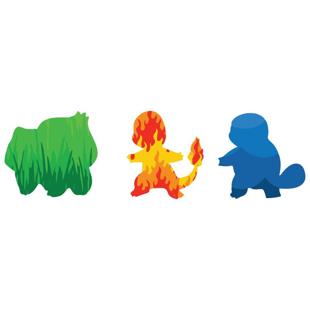 Adesivo de Parede Tipo Água Fogo Grama Pokémon