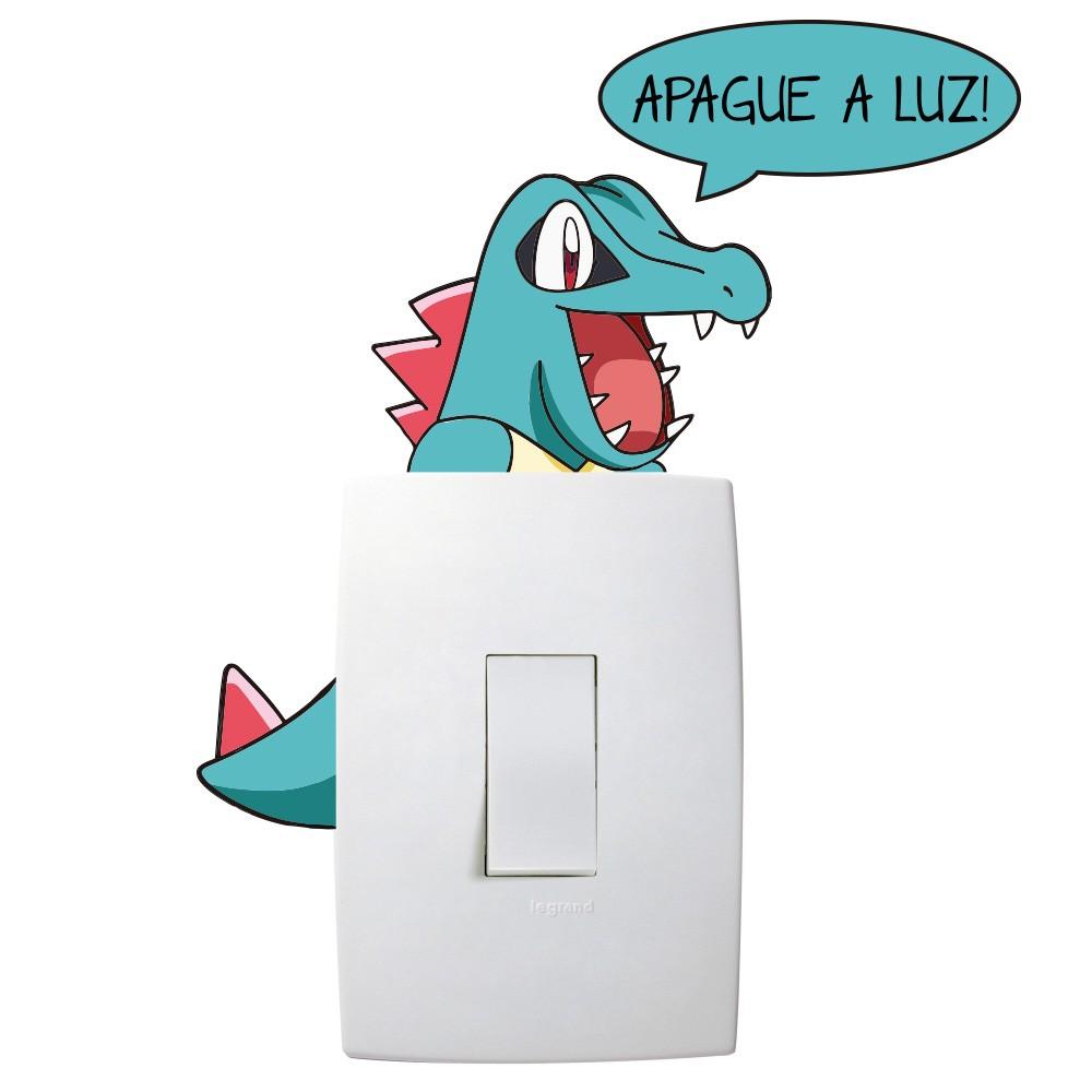 Adesivo de Parede Totodile Apague a Luz Interruptor