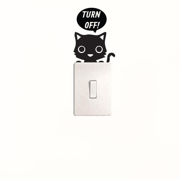 Adesivo de Parede Turn Off Cat