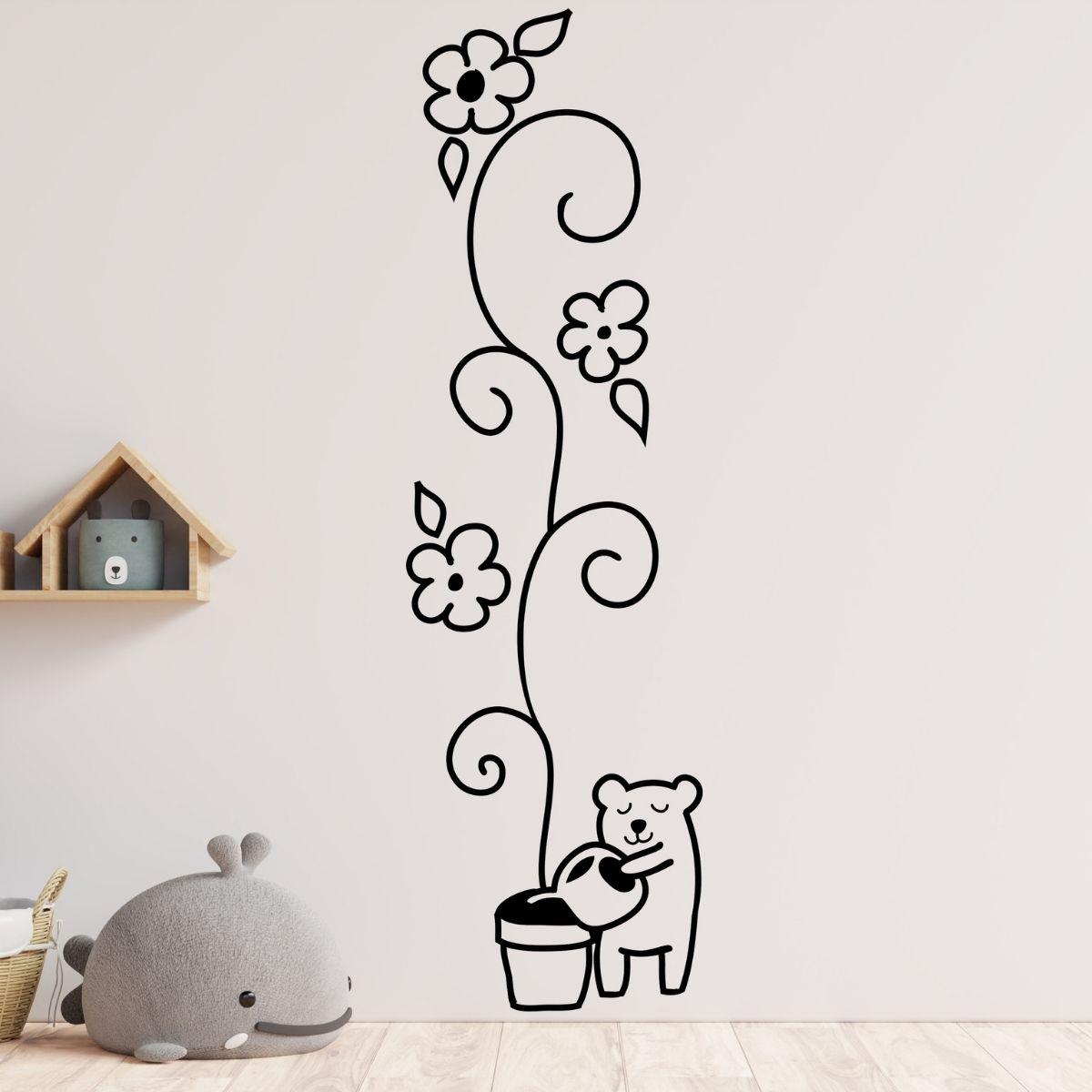 Adesivo de Parede Urso Com Flor