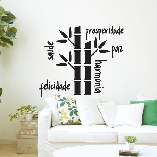 Adesivo de Parede Bambu da Sorte Votos Prosperidade