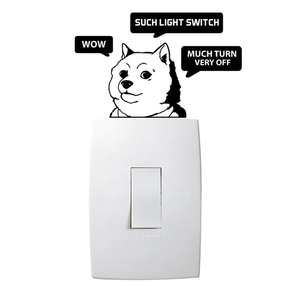 Adesivo de Parede Wow Doge Preto Interruptor