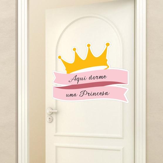 Adesivo de Porta Aqui Dorme uma Princesa