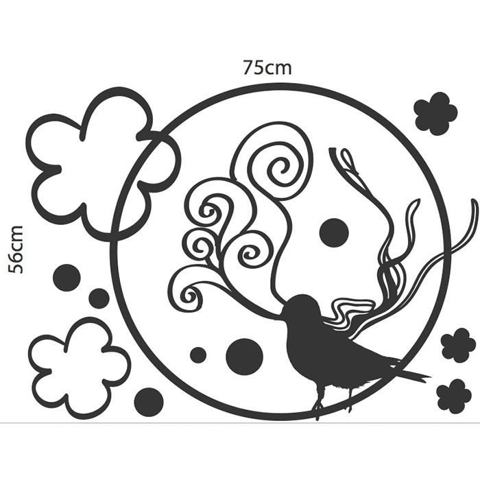 Adesivo Floral Silhueta Pássaro