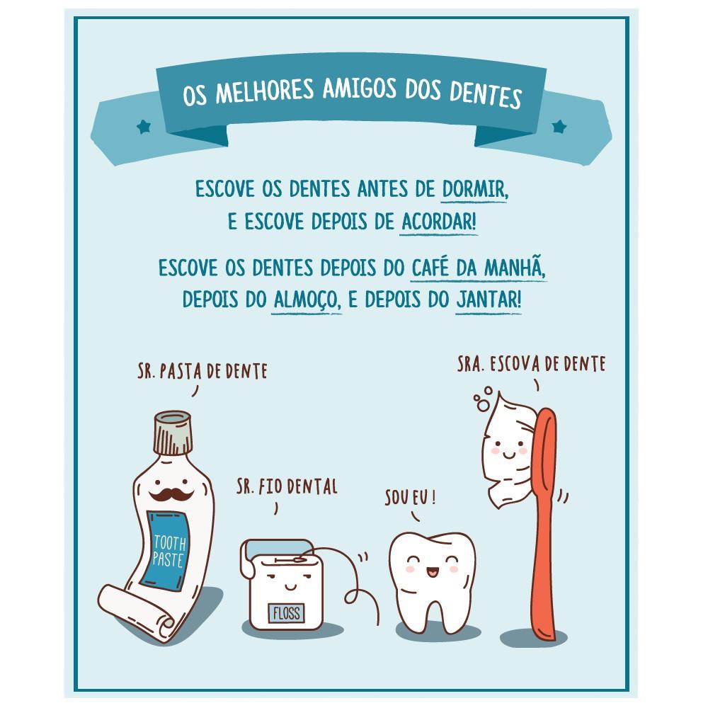 Adesivo Infantil Placa Escove os Dentes