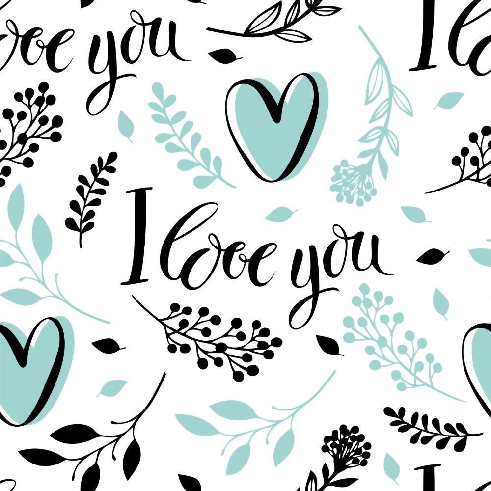 Adesivo Papel de Parede Floral I Love You