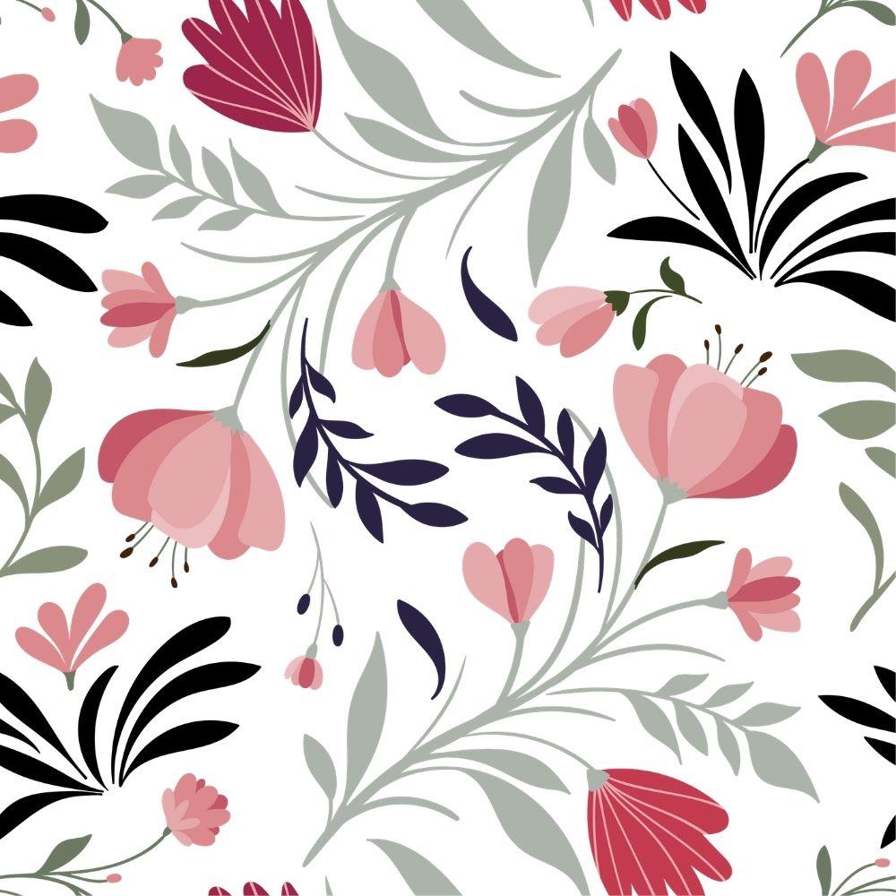 Adesivo Papel de Parede Floral Rosa