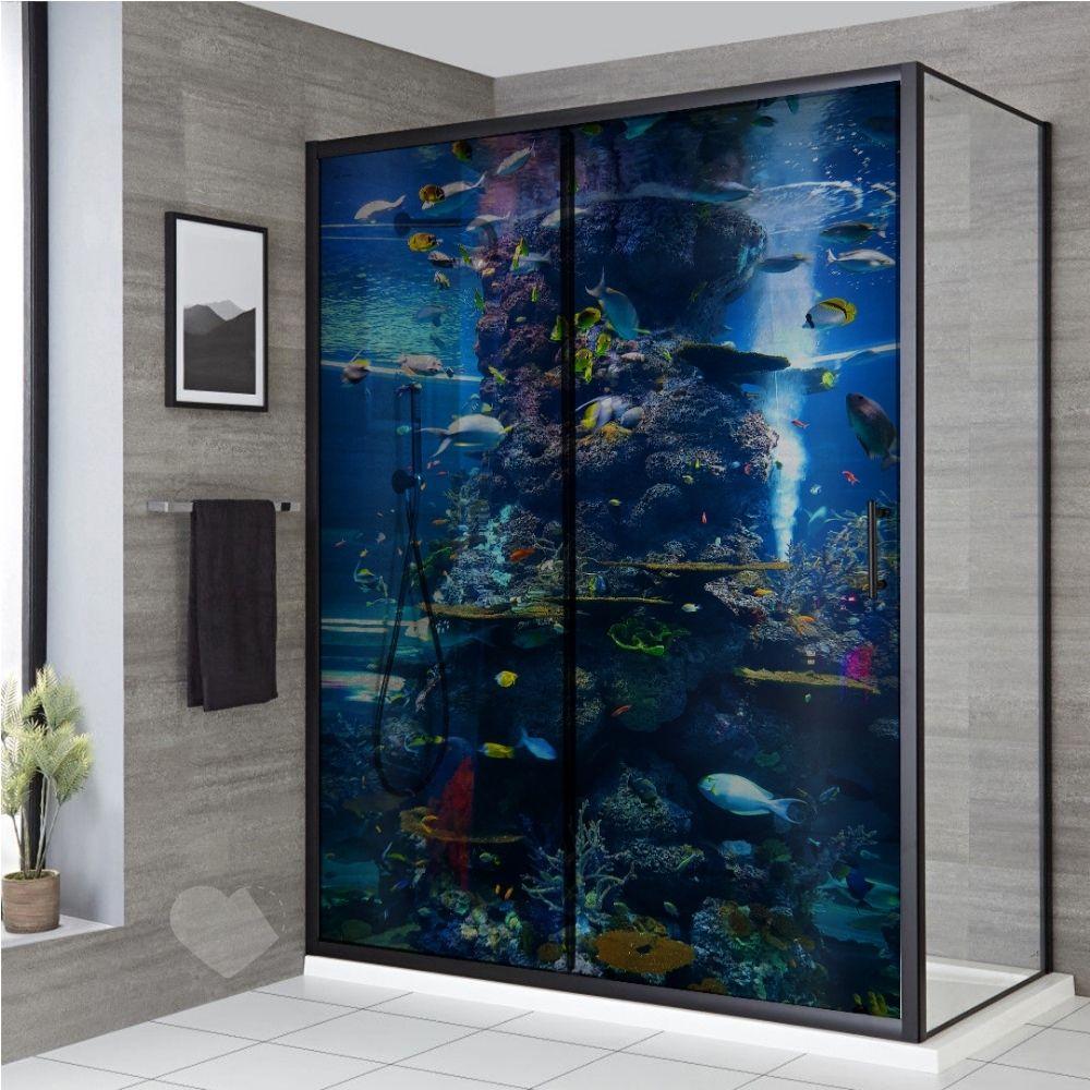 Adesivo Para Box De Banheiro 3d Aquário Largura Total Até 120cm